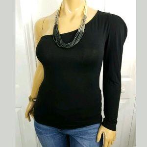 Bisou Bisou One Sleeve Blouse Black Large